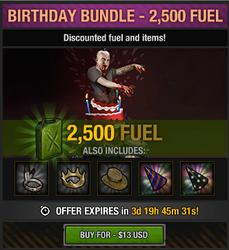 4th anniversary birthday bundle - 2500 fuel