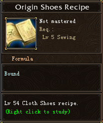 Origin Shoes Recipe
