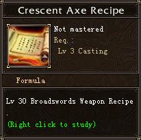Crescent Axe Recipe
