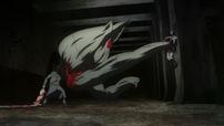 Kureo using both Ryouko and Fueguchi's Kagune to fight Touka.png