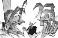 Arima surrounded by Sasaki's kagune trap