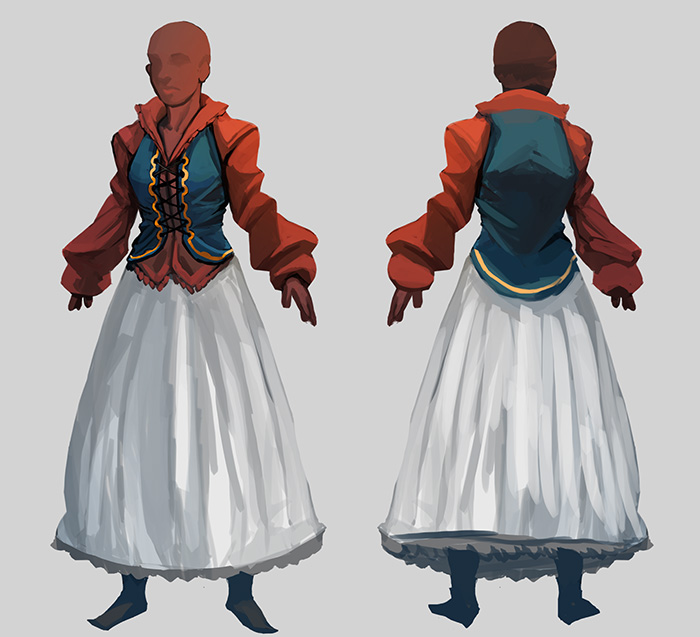 Girl white dress redblue top