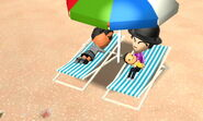 A family in beach chairs