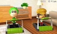Two Miis on treadmills