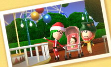 A family at the amusement park