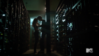 Teen Wolf Season 3 Episode 2 Dylan O'Brien Caitlin Custer Stiles and Heather in the wine cellar