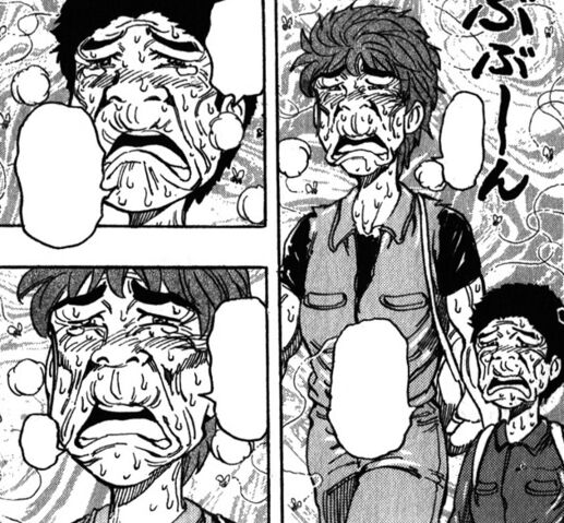 File:Toriko and Komatsu making strange faces from the stench.jpg