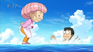 Komatsu surprised by Setsuno standing on water