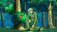 Teppei making the apple fall asleep