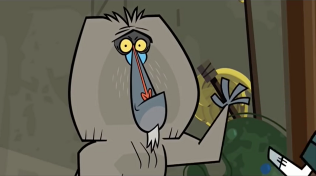File:Africa baboon about to run away.png