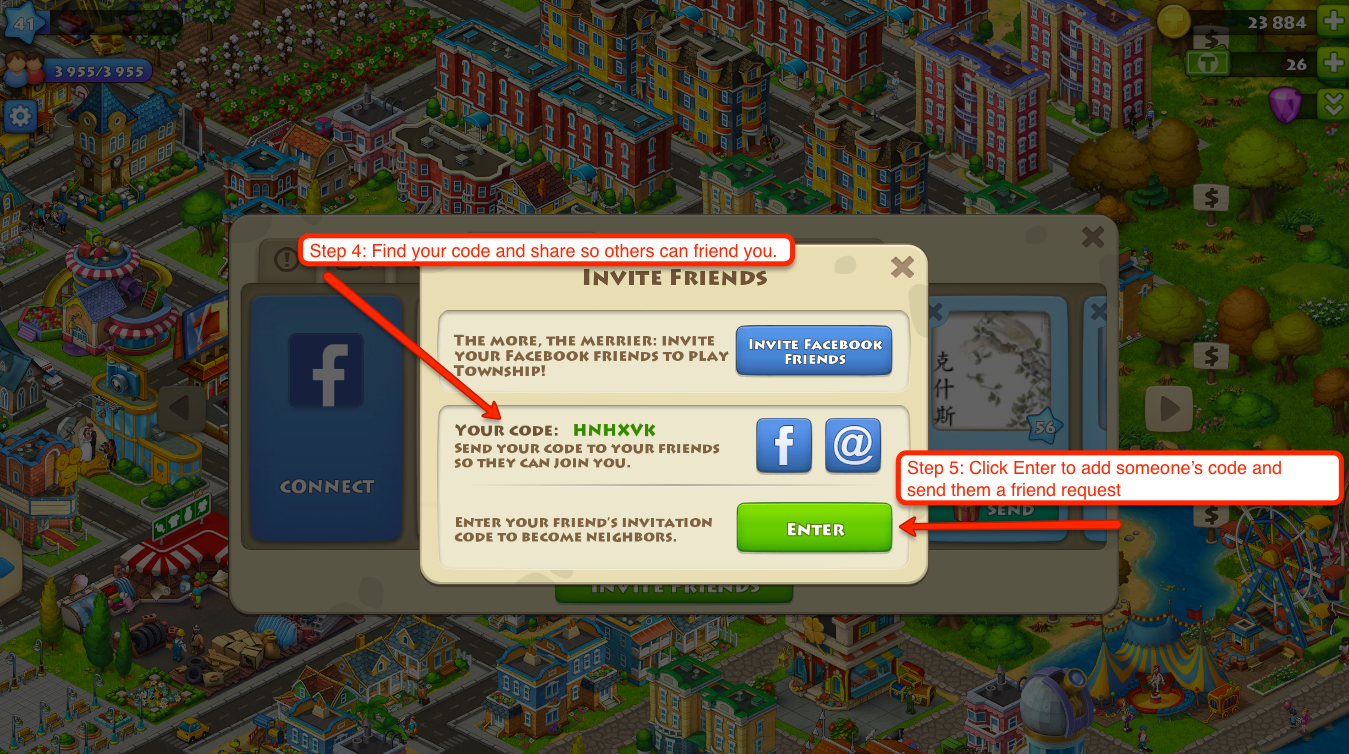 how to add friends on township