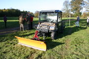 Kubota RTV fitted with snow plough