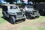 Hotchkiss M201 of 1959 reg NAS 884 and (right) 1944 Willys MB Jeep of E. Noy at Woolpit 09 - IMG 1430