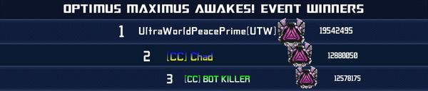 Event Optimus Maximus Awakes - Solo Winner