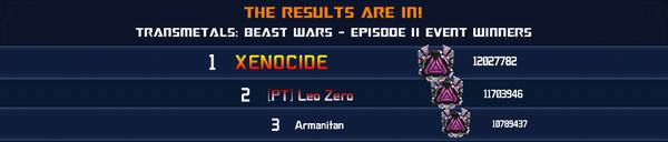 Event Transmetals Beast Wars Episode 2 Solo Winner