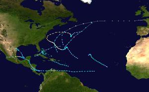 1993 Atlantic hurricane season summary map