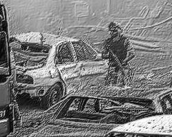 File:Soldier and damaged vehicles bw.jpg