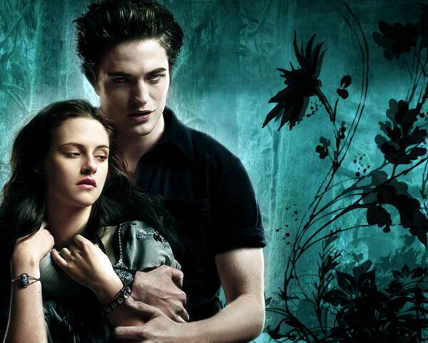 File:Edward and Bella Twilight wallpaper Cyan Background.jpg