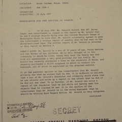 Kenneth Arnold UFO report (cont.)
