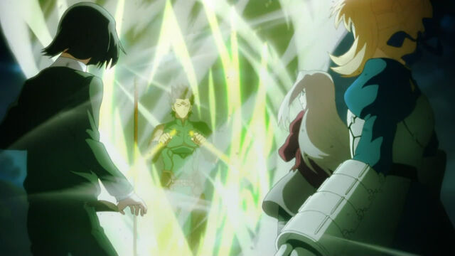 File:Lancer broken his weapon in order Saber to use her powerful weapon.jpg