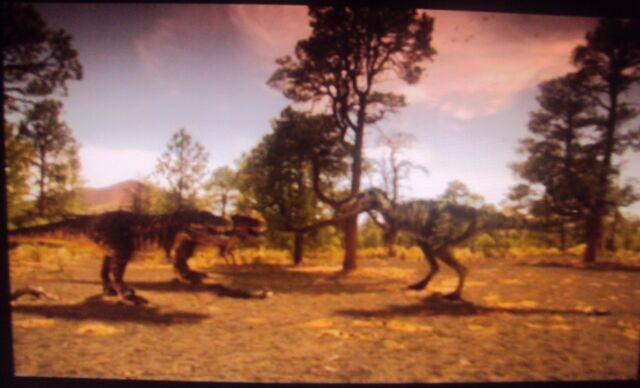 File:Nanotyrannus vs. two baby T-Rexes.jpg