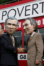 Protesters wearing George W. Bush and Tony Blair disguises (2004)