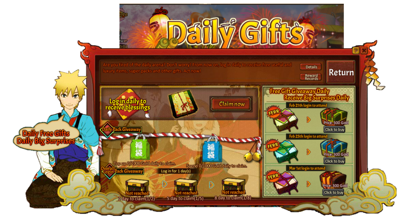 Konoha Party Daily Gift Grid