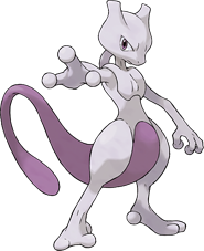 A large white and purple creature standing upright with its right arm outstretched towards the viewer. It has a feline-shaped head, long purple tail and stomach, enlarged thighs, three fingers, and two toes.