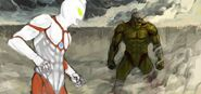 Ultraman vs armored titan by johnkalem-d6k0wwb