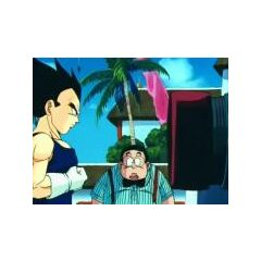 Vegeta: Gotta think happy thoughts... Happy..... Like what Bulma does when...