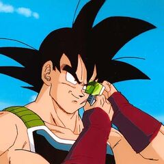 Bardock adjusts his scouter before deciding to visit his son!