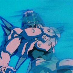 Omega Shenron being hit by the Big Bang Kamehameha
