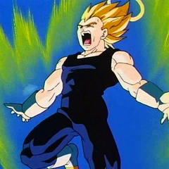 SS Vegeta powers up while fighting Super Buu.