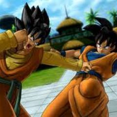A created character training with Goku
