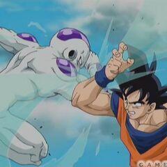 Goku battling Frieza in the opening