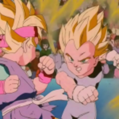 Goku Jr. and Vegeta Jr. pound it up while we all know e-e-very Z- Fighter is d-d-d-d-d-dead (*cries*)