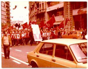 Red Army Mostar corteo in Belgrade against Zeljeznicar 1981
