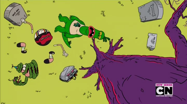 File:Uncle Grandpa, Belly Bag, Mr. Gus, and Pizza Steve in Tiger Trails 2.png