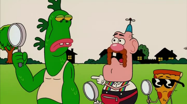 File:Uncle Grandpa, Belly Bag, Mr. Gus, and Pizza Steve in Tiger Trails 24.png