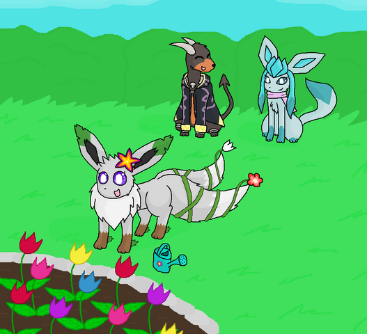 File:The Munitalp Family- DoomFlame, Eievui and Shannon.png