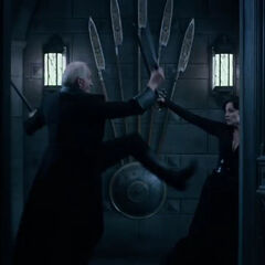 Thomas fighting Semira in <i>Underworld: Blood Wars</i>