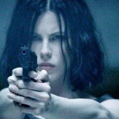 Selene in the mansion's shooting range.