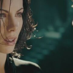 Selene stares at Michael after the battle.