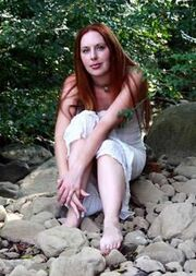 Cherie Priest on rocks