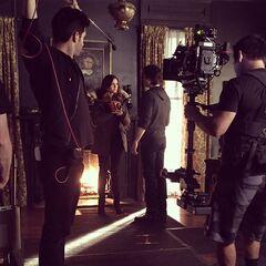 Damon and Elena bts