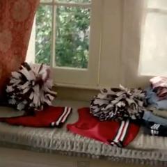 3x22: Elena's old cheer uniform in her sophomore year, a two-piece crop top uniform