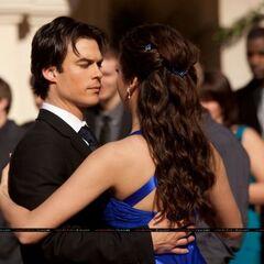 Elena and Damon dancing.