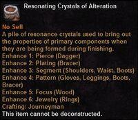 Resonating crystals alteration