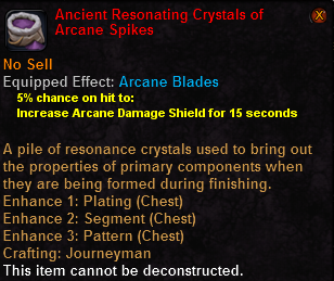 Ancient resonating crystals arcane spikes