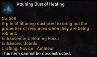 Attuning dust healing